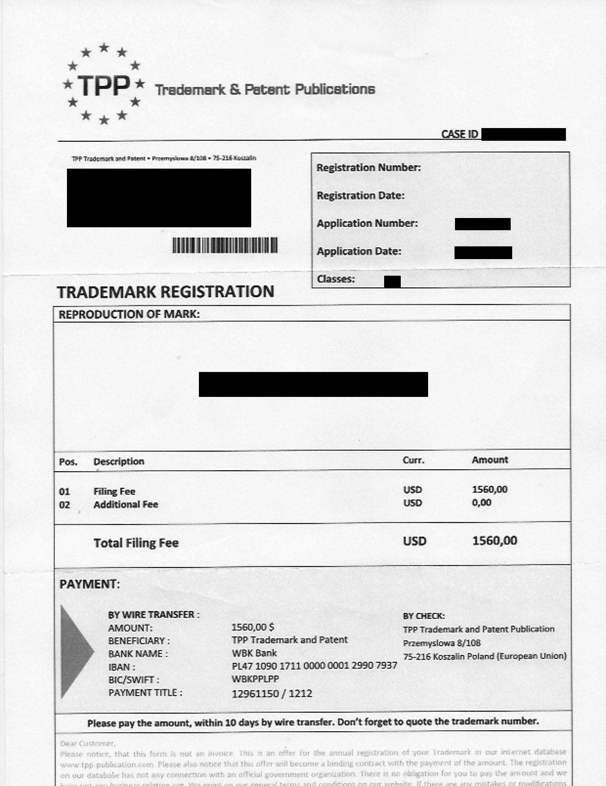 TTP Trademark Scam
